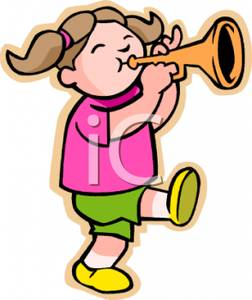 252x300 A Young Girl Playing Trumpet Clip Art Image