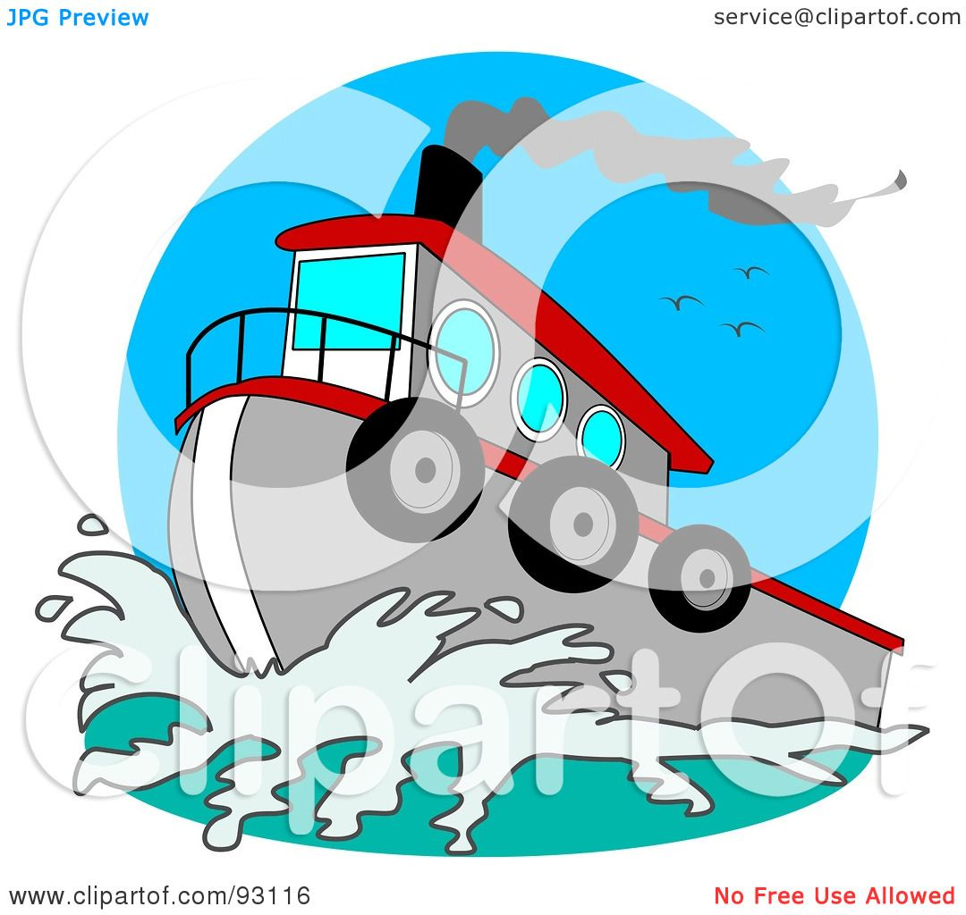 1080x1024 Royalty Free (Rf) Clipart Illustration Of A Red And Gray Tugboat