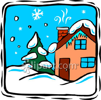 350x344 Royalty Free Clip Art Image A House Covered In Snow
