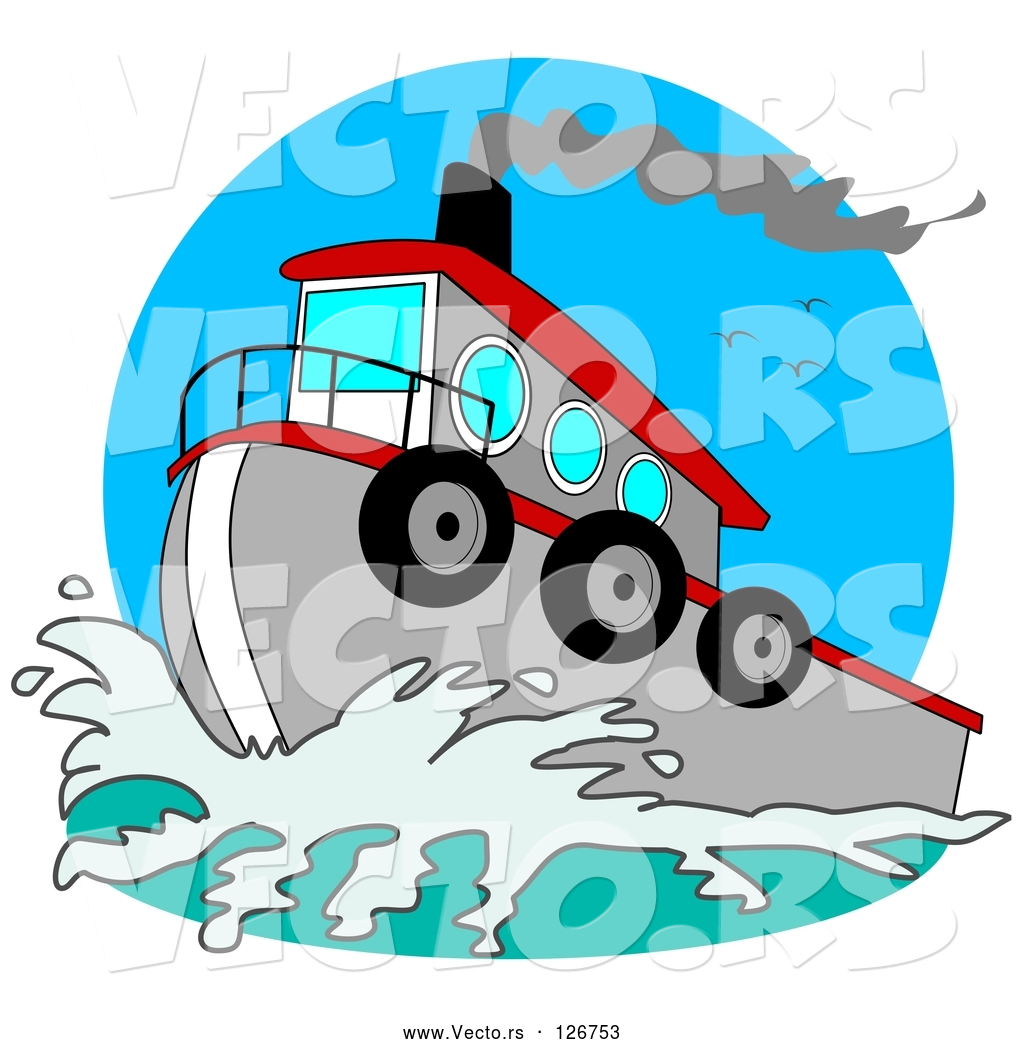 1024x1044 Vector Of Red And Gray Tugboat On The Sea By Djart
