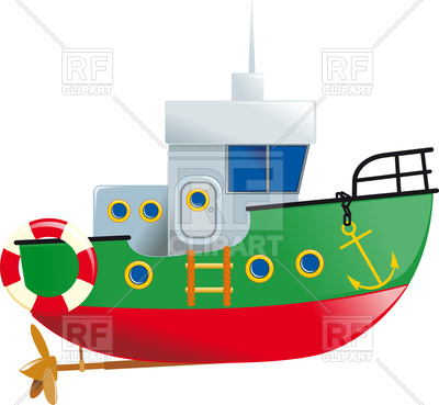 400x369 Cartoon Small Boat With Lifeline And Screw Vector Image Vector