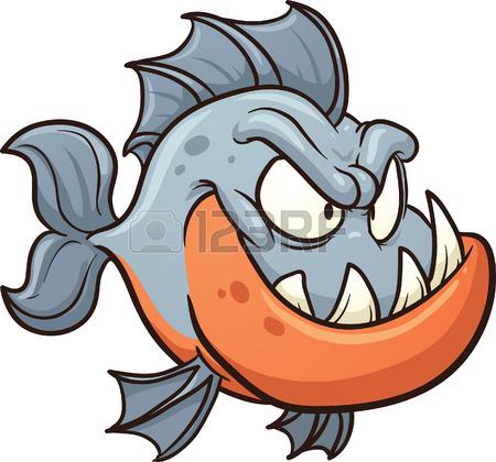 450x420 Clip Art Of Piranha Fish In Color