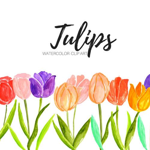 500x500 Tulip Clipart Flower Clip Art Floral Clip Art Watercolor