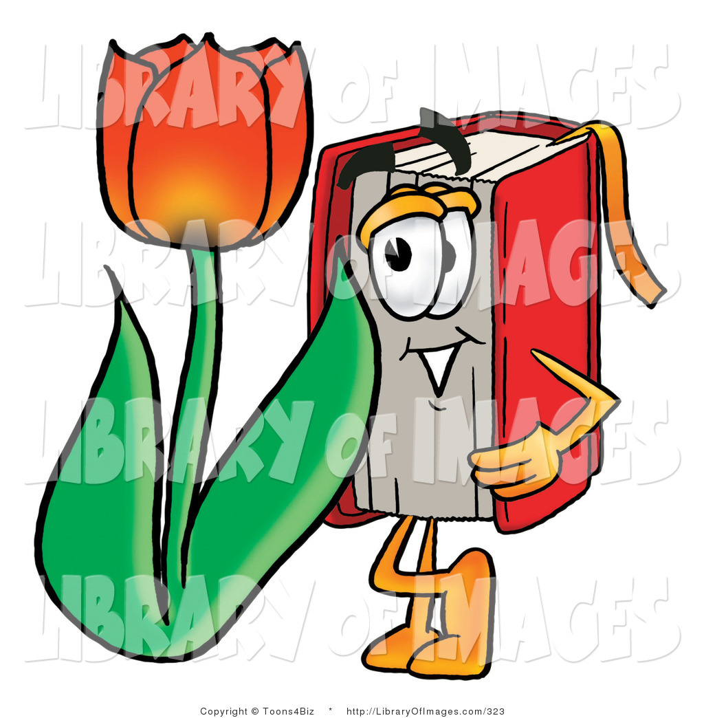 1024x1044 Clip Art Of A Red Book Mascot Cartoon Character With A Red Tulip