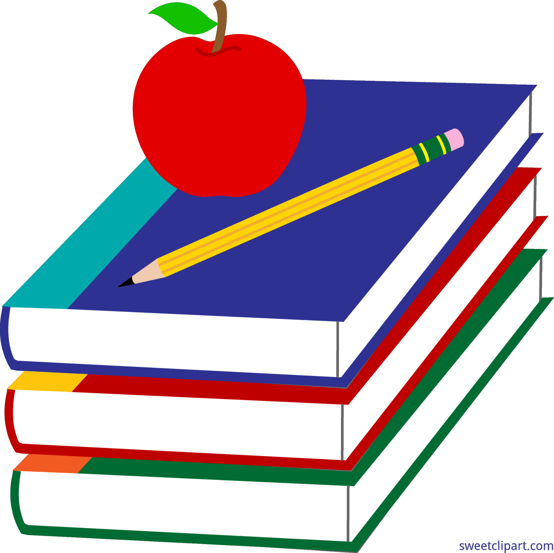 4461x4450 Books Apple And Pencil Clip Art