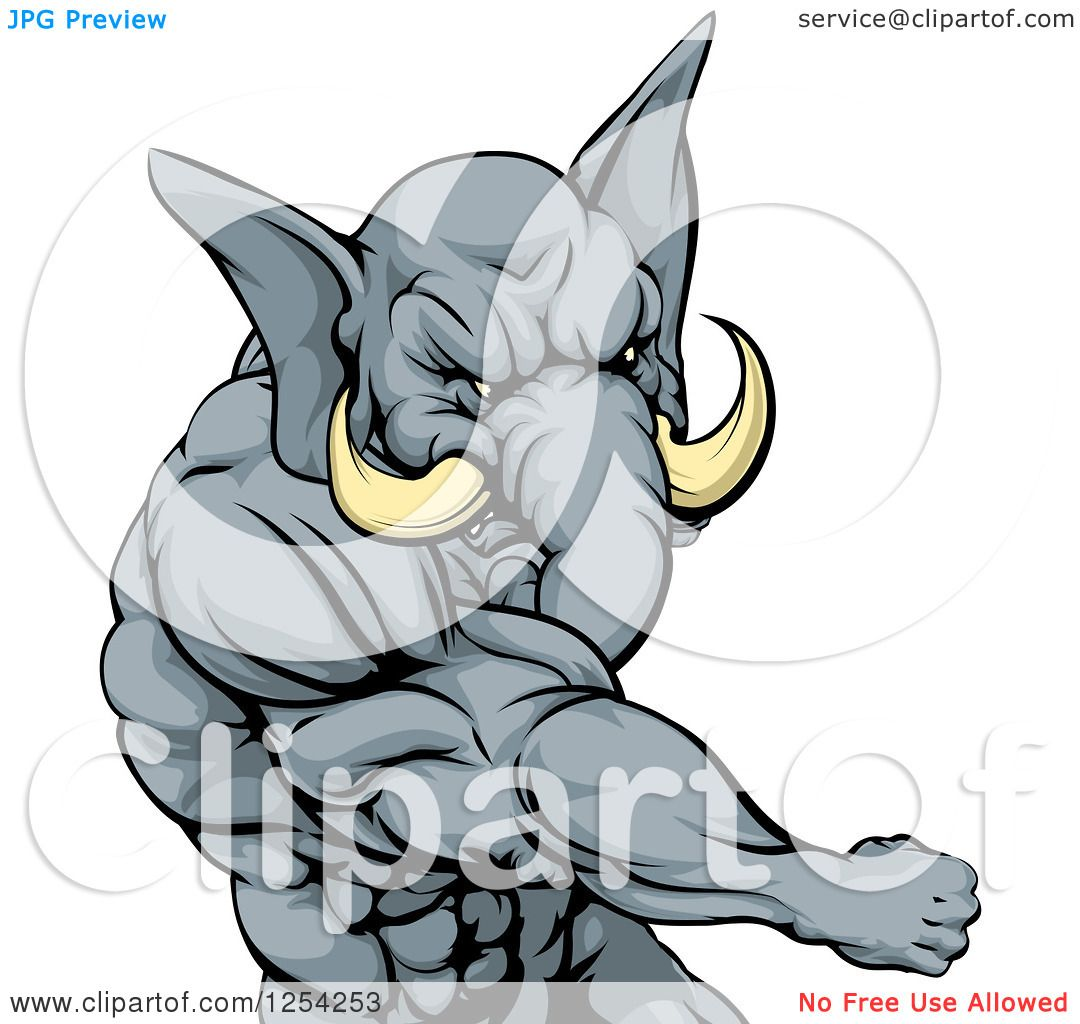 1080x1024 Clipart Of A Punching Muscular Elephant Man Mascot