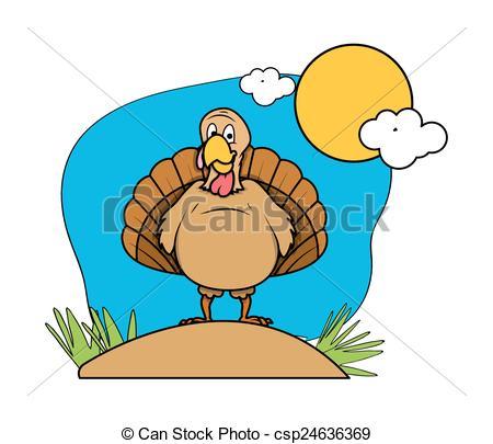 450x405 Funny Turkey Bird In Garden. Cartoon Funny Turkey Bird In Clip