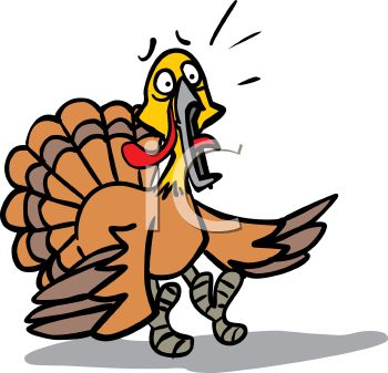 350x337 Picture Of A Scared Turkey In A Vector Clip Art Illustration