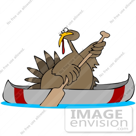 450x450 Clip Art Graphic Of A Turkey Bird Using A Canoe To Escape Hungry