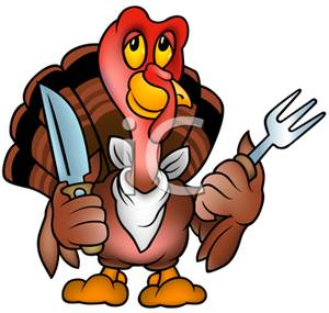 300x285 Clip Art Image A Cartoon Turkey With A Knife And Fork