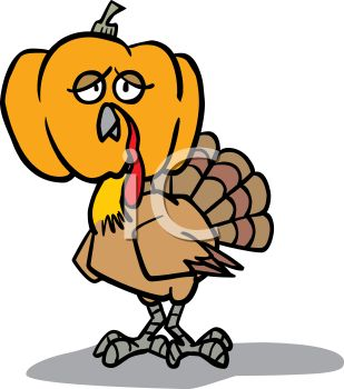 309x350 Picture Of A Comical Turkey Wearing A Pumpkin Head In A Vector
