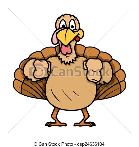 447x470 Funny Greedy Turkey Bird Character Face Expression Vector