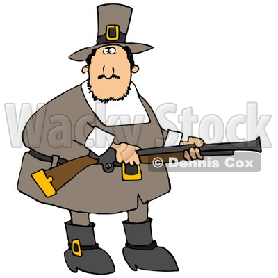 400x400 Clipart Illustration Of A Confused Fat Male Pilgrim In Brown