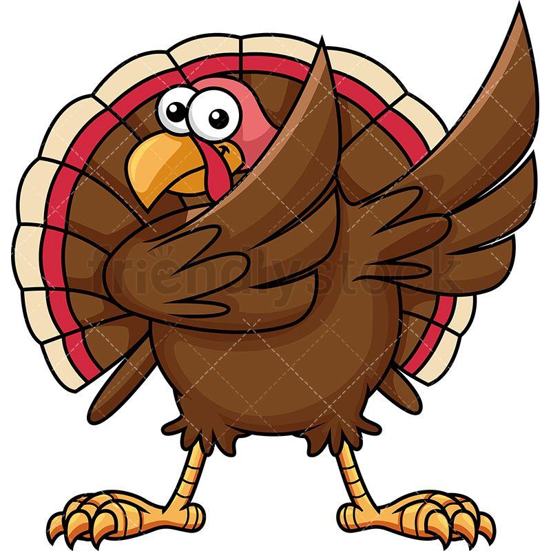 800x800 Dabbing Turkey Cartoon Vector Clipart Turkey Bird, Vector Vector