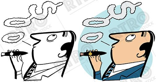 504x265 A Man Smokes A Cigar And Blows Smoke Rings That Turn Into A Dollar