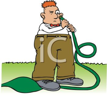 350x328 Royalty Free Clip Art Image Man Looking Into A Garden Hose About