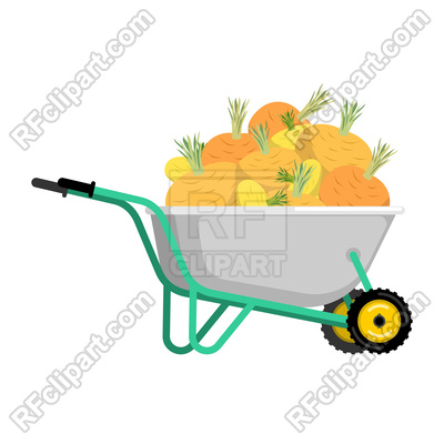 400x400 Wheelbarrow And Turnips Royalty Free Vector Clip Art Image