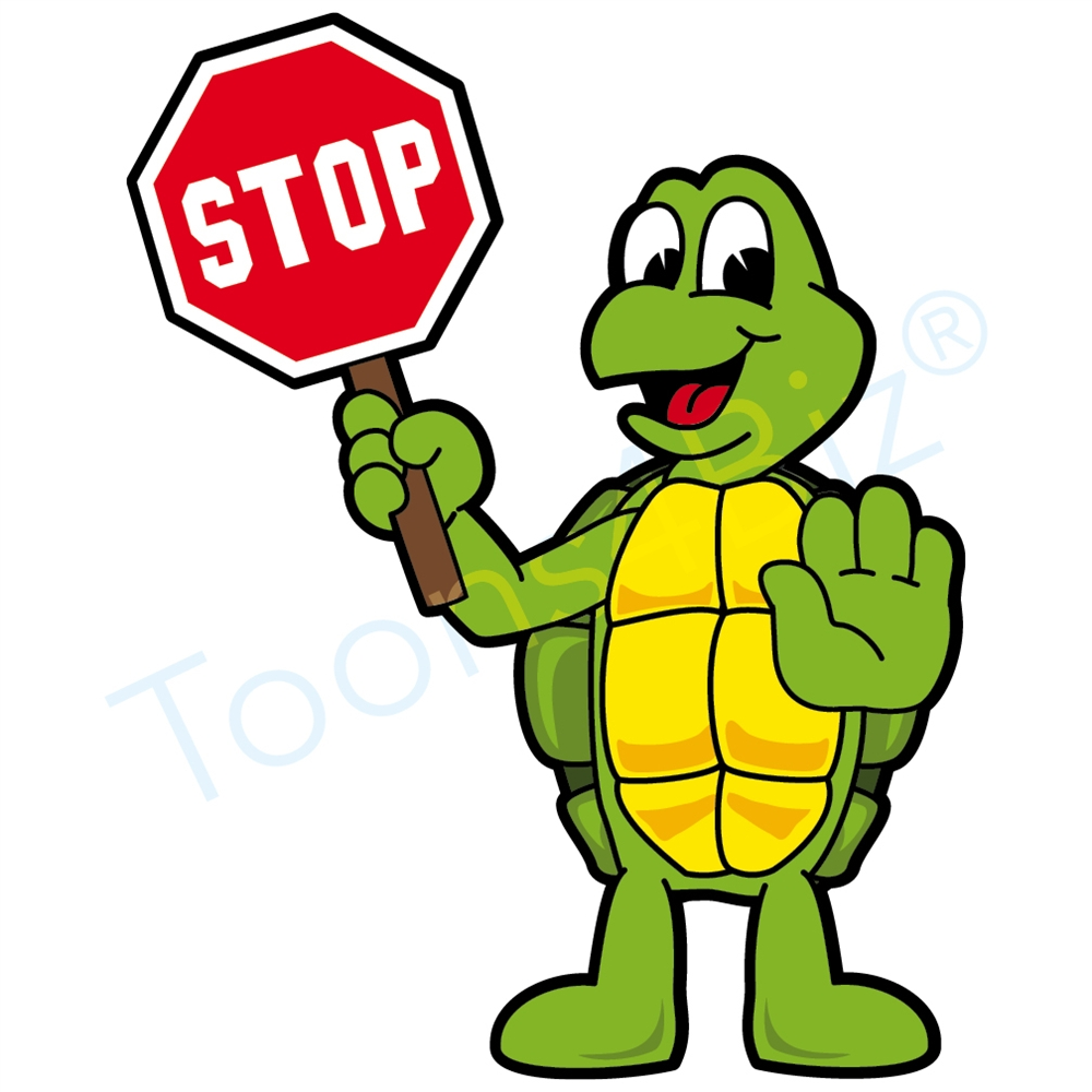 1000x1000 Turtle Mascot Holding A Stop Sign Clip Art