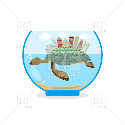 400x400 Mini City On Shell Of Turtle In An Aquarium Royalty Free Vector