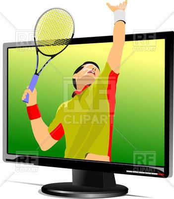 351x400 Flat Computer Monitor (Tv Set) Showing Tennis Serve Royalty Free