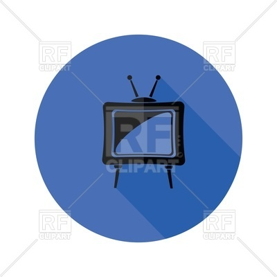 400x400 Old Tv Flat Icon Royalty Free Vector Clip Art Image