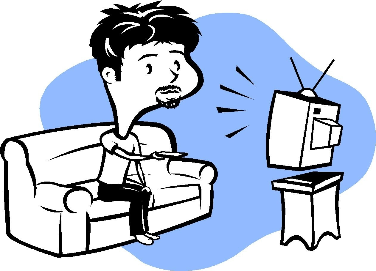 1262x912 Top Of Watching Tv Clipart Black And White