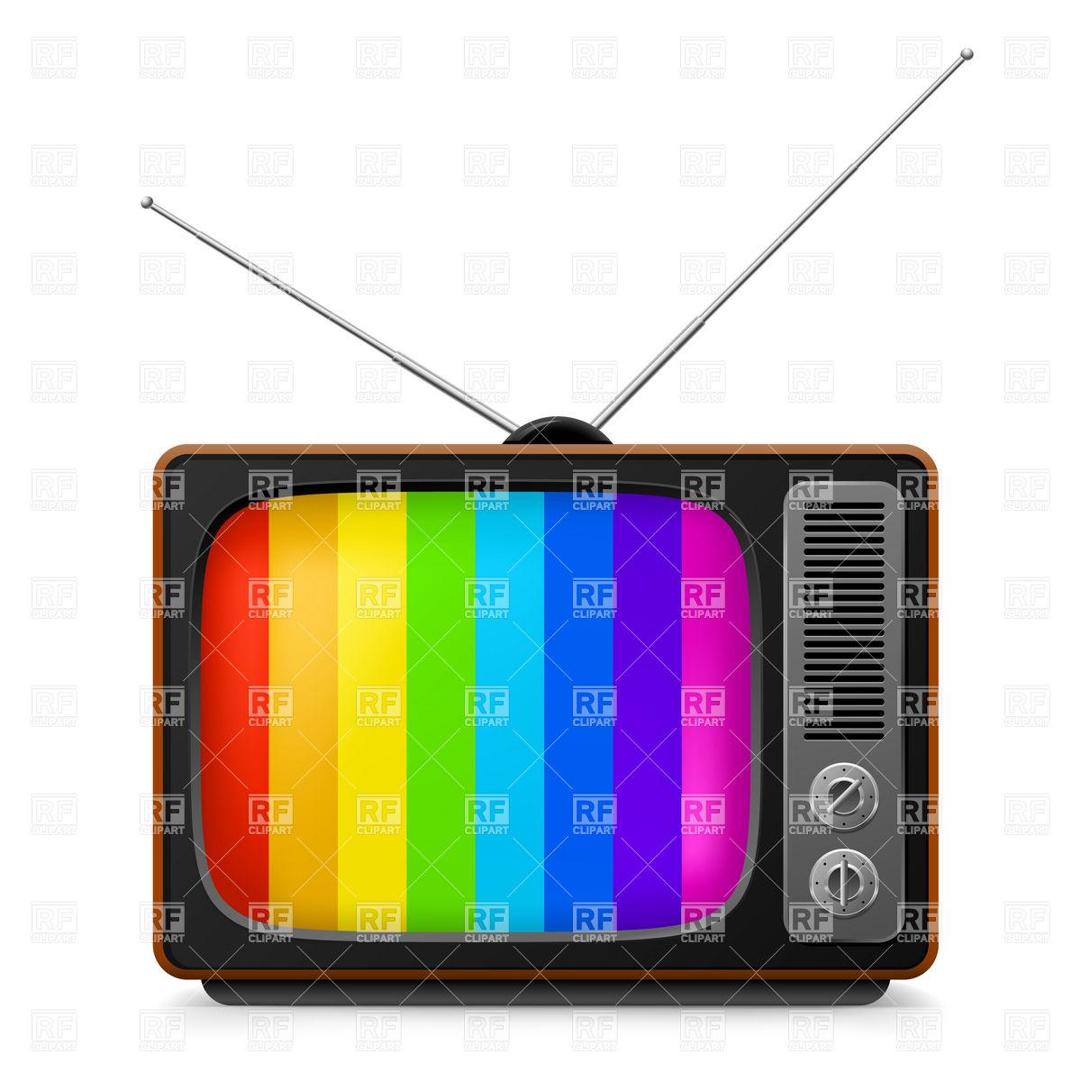 1200x1200 Vintage Tv Set With Color Frame Royalty Free Vector Clip Art Image