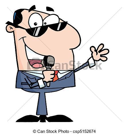 450x470 Caucasian Tv Show Host Talking Through A Microphone Eps Vector