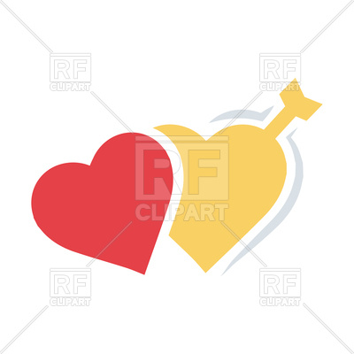 400x400 Valentine's Twins Heart Arrow Flat Royalty Free Vector Clip Art