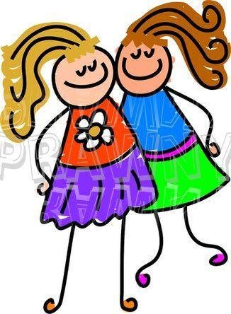 326x444 Clip Art Cartoon Friends Happy Cartoon Two Little Girl Friends