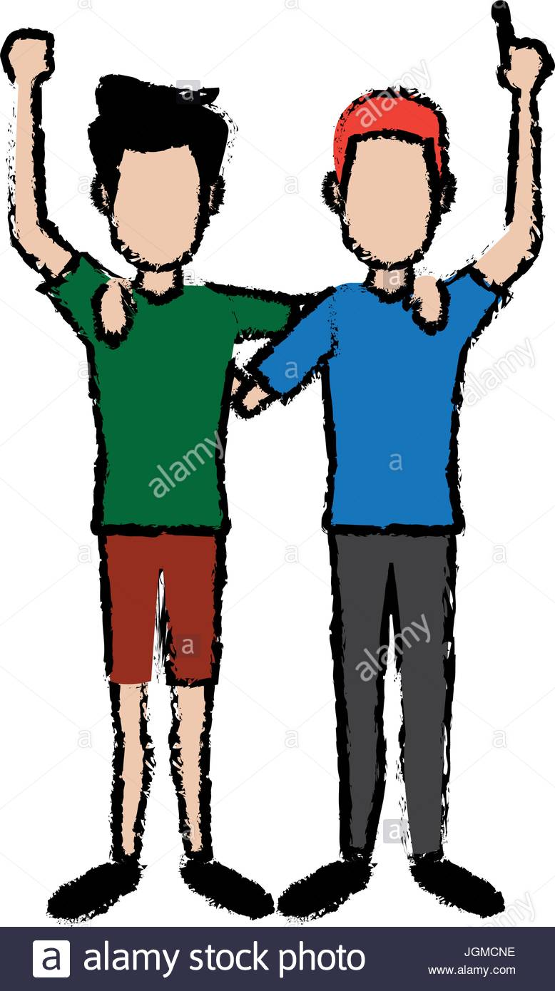 778x1390 Two Boys Smiling Hugging And Waving Their Hands Best Friends Stock