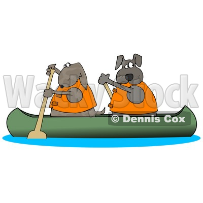 400x400 Two Dogs In Lifejackets Paddling A Canoe And Looking Back Clipart