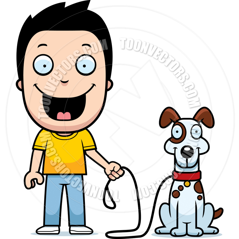 940x940 Boy With 2 Dogs Clipart Image