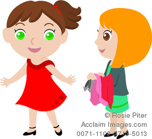 300x274 Clip Art Image Of Two Young Girls Trying On Clothes