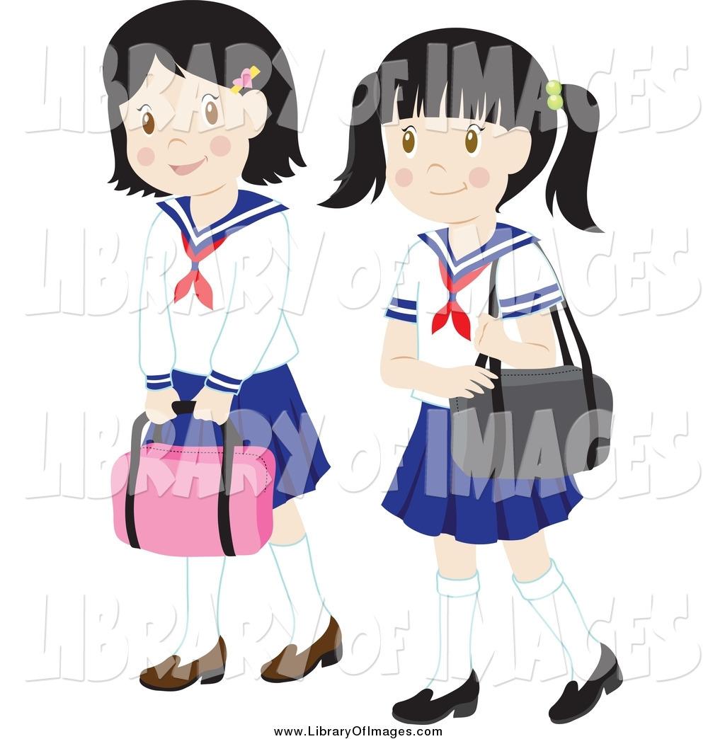 1024x1044 Clip Art Of Two School Girls In Uniforms By Rosie Piter