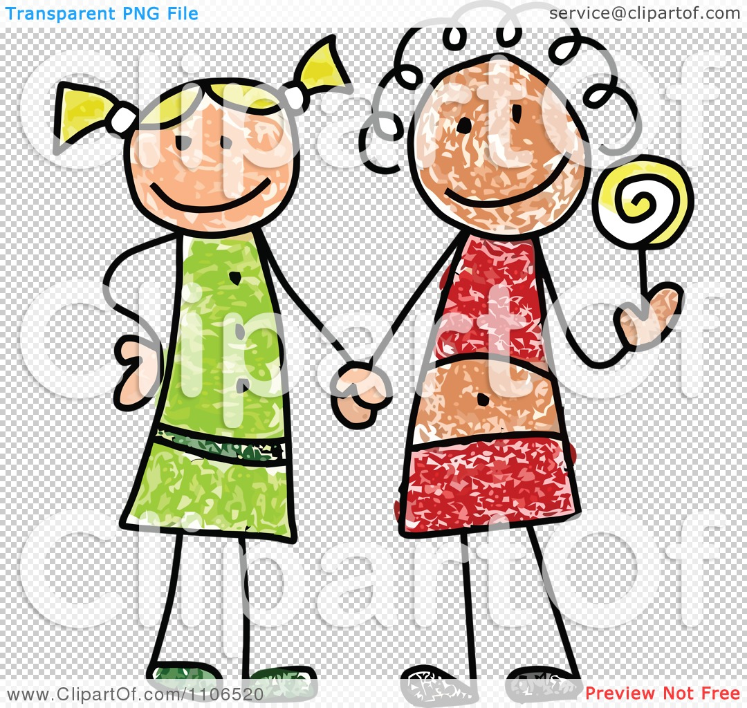 1080x1024 Clipart Stick Drawing Of Two Best Friend Girls Holding Handsnd