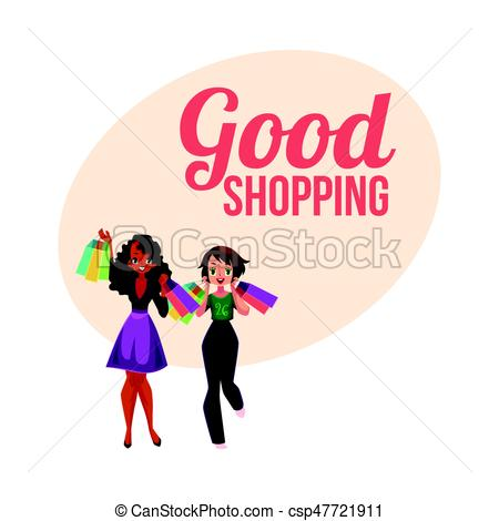 450x470 Poster, Banner With Two Girls, Women, Friends Holding Shopping