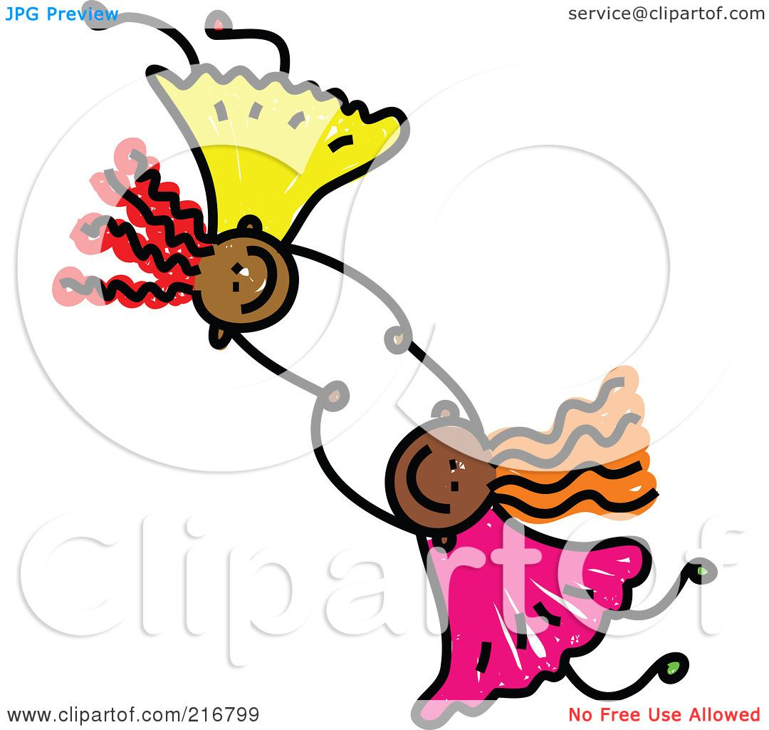 1080x1024 Royalty Free (Rf) Clipart Illustration Of A Childs Sketch Of Two