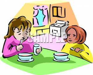 300x243 Royalty Free Clipart Image Two Girls Eating Soup