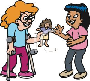 300x269 Two Cartoon Girls Playing With A Doll Clip Art Image