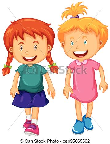 358x470 Two Girls With Happy Face Illustration Clip Art Vector