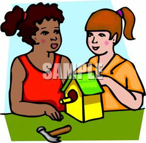 300x295 A Colorful Cartoon Of Two Girls Building A Birdhouse Together