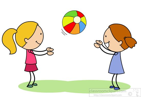550x381 Children Clipart Two Girls Playing Catch With Bright Ball Jpg
