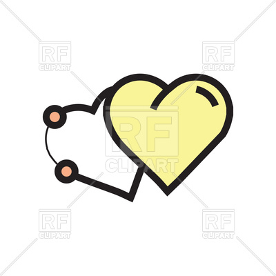 400x400 Two Hearts Pen Tool Style Yellow Icon Royalty Free Vector Clip Art