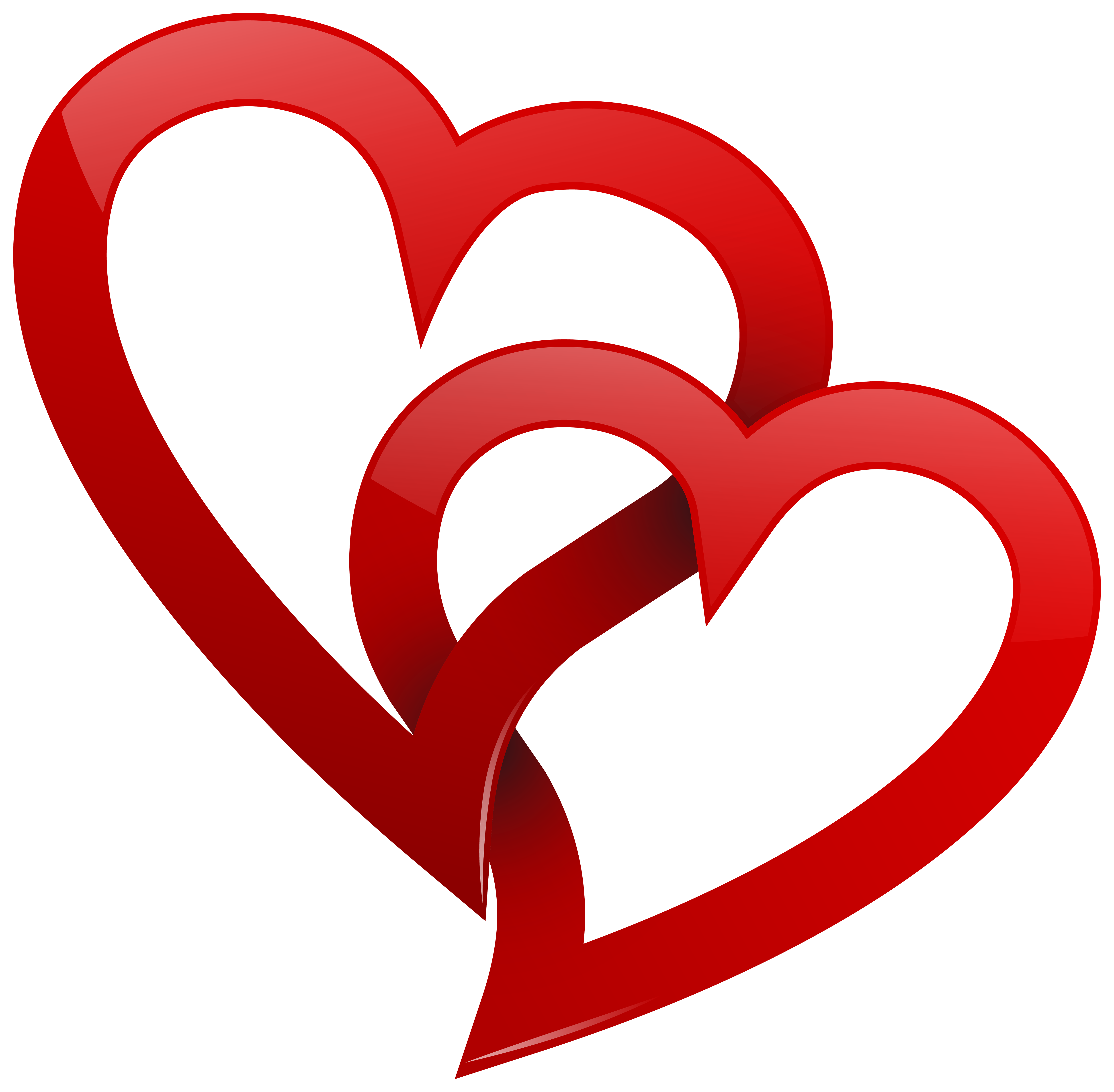 5000x4899 Two Red Hearts Png Clipart
