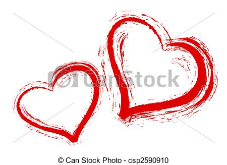 450x327 Two Hearts On White Background Stock Illustration