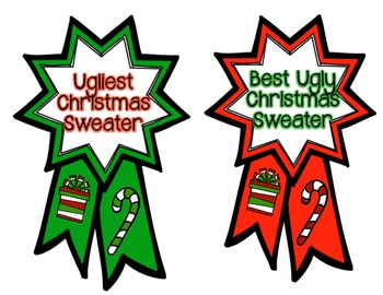 350x270 Ugly Christmas Sweater Contest Ribbons By Mrsacolwell Tpt