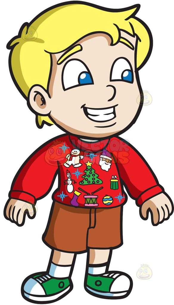 584x1024 A Curious Boy In An Ugly Christmas Sweater Cartoon Clipart