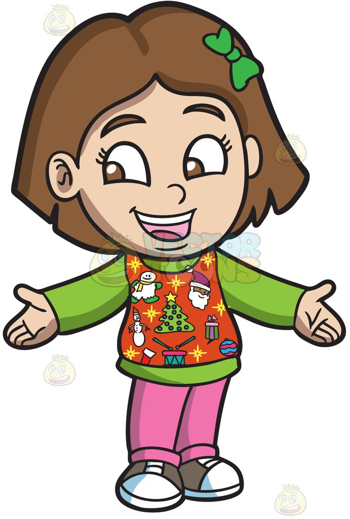 691x1024 A Friendly Girl In And Ugly Christmas Sweater Cartoon Clipart