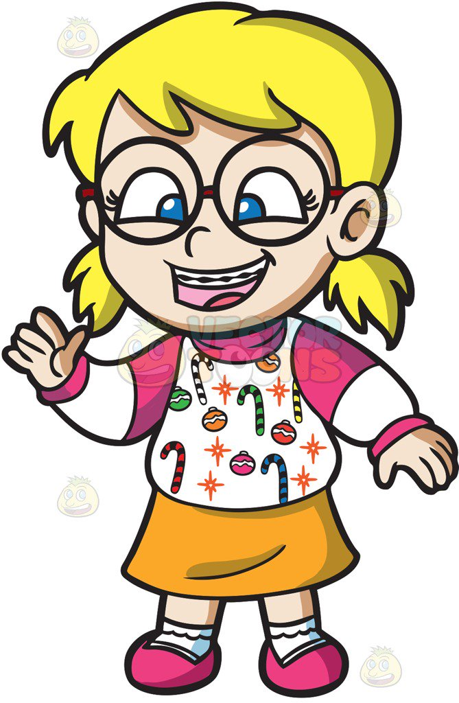 669x1024 A Nerdy Girl In An Ugly Christmas Sweater Cartoon Clipart Vector